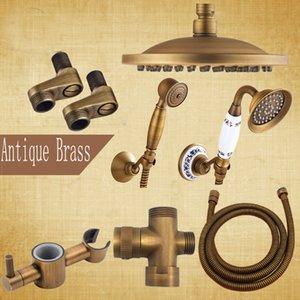 """Antique Brass Bathroom Shower Faucet Acessório 8 """"Chuva Chuveiro / Chuveiro de Mão / 150cm Mangueira / Válvula Angle / Bracket"""