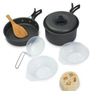 8 в 1 открытый лагерь кухня кемпинг туризм посуда альпинизм пикник чаша горшок сковороду инструмент набор