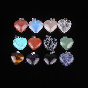 20mm Karışık Kalp Doğal Mavi Aventurin Yeşil Turkuaz Akik Taş Boncuk Charms Kuvars Kristalleri Kolye Cabochon 20 adet / grup Toptan