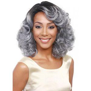 La abuela peluca gris WoodFestival ombre pelo sintético ondulado pelucas cortas rizadas mujeres afroamericanas calientan pelucas de fibra resistentes negros