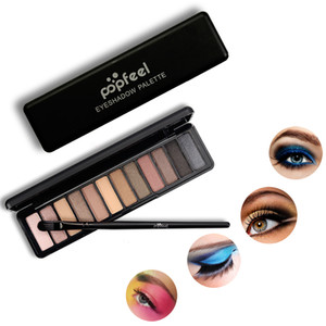 2018 Popfeel 12 Colors Eye Shadow Makeup Shimmer Matte Eyeshadow Earth Color Eyeshadows Palette Cosmetic Nude Eyes Make Up 1203016