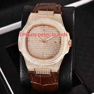 Reloj automático con caja de oro rosa 2813 completamente helado y correa de cuero cristal de zafiro dorado brillante diamantes relojes de lujo de moda