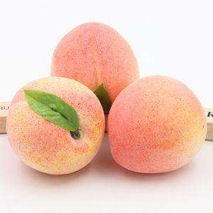 2PCS 8CM Artificial Guicy Peach fruit Kindergarten Garden Family Kitchen Decoration Handwork DIY Fruit