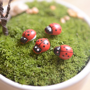 Artificielle mini coccinelle insectes beatle fée jardin miniatures mousse terrarium décor résine artisanat bonsaï décor à la maison