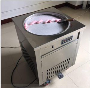 2018 Thai frito máquina de rolo de sorvete único 50 cm pan fry pan ice cream suco de iogurte rolou fabricante 110 v / 220 v DHL