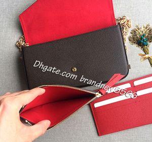 Envío gratis 3 piezas Monedero de embrague para mujer con cremallera Pollo de bolsillo Pochette Mini Bolsa de cadena 3 piezas Set de bolsas 64065 61276 W caja