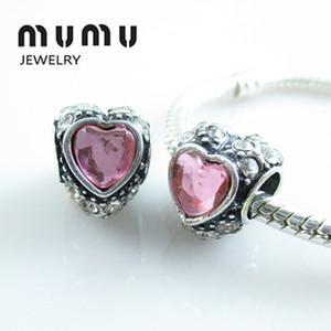 Venta al por mayor Diy Jewelry Silver Plated Love Beads Pink Crystal Aolly Large Heart Big Hole Granos sueltos Se adapta a la serpiente europea pulseras del encanto