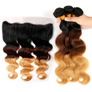 Расширения OMBRE 1B / 4/2 27 бразильская девственница волна человеческих волос 3 пакета с кружевами фронтальные 13x4 цветные блондинки сплетенные пучки с закрытием