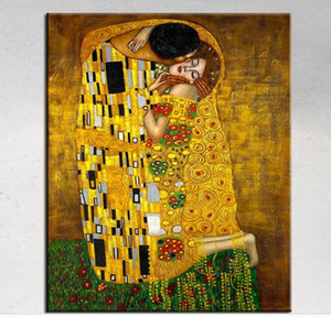 The Kiss By Gustav Klimt Art, pintado a mano genuino de alta calidad The World Famous Art óleo sobre lienzo personalizado tamaño