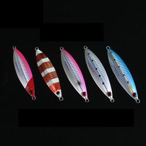 Nuevo Diseño Mezclado 5 Colores de Pesca Flutter Jig Lure 30g 40g 60g Metal Ligero Jigging Señuelos de Pesca de Agua Salada Luminoso Cebo de plomo
