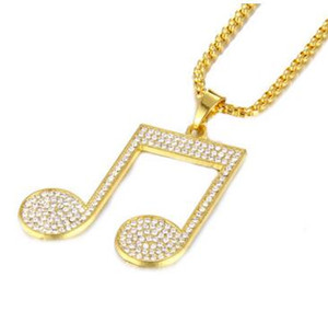 18k Gold Plated Hip Hop Necklace Musical Note Fully CZ Pendant Wheat Chain