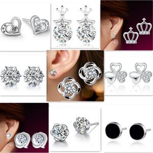 925 brincos de prata cristal natural atacado moda prata esterlina ear sutd brinco jóias para as mulheres coroa trevo coração brincos