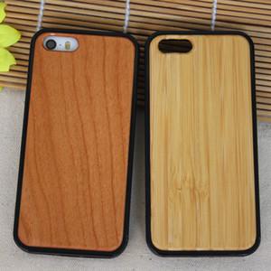 Cas de téléphone en bois + TPU pour Iphone 5 5s SE 6 6 s plus 7 8 X 10 en bois naturel Bamboo Cover Couverture de téléphone portable en bois pour Samsung S9 S8 S7 Note 8