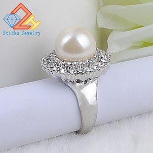 Trendy Round Engagement Rings For Women Big Pearl Shiny Rhinestone Hot Rings Fashion Jewelry