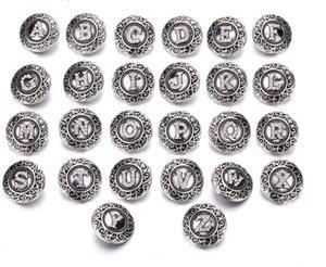 İlk A-Z Alfabe Mektubu 18mm Snap Düğmesi Takı Metal Düğme Yapış Fit Snaps Düğmesi Bilezik Kolye Küpe Z0079