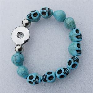 6 teile / los Mode Frauen Gefälschte Türkis Schädel Perlen Noosa Chunks Metall Ingwer 18mm Snap Button Armband Schmuck Für Männer