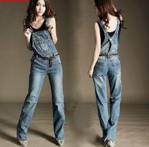 Wholesale- Promotion Women's Overalls Jeans pants Fashion Lady Denim Jumpsuits Rompers Big Size Trousers