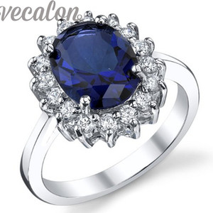 Vecalon Fashion Royal anillo princesa corte 4ct Sapphire Cz Diamond anillo 10KT oro blanco relleno Women Band compromiso Wedding Band