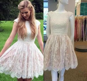 2017 yeni seksi kadınlar kokteyl elbiseleri jewel boyun beyaz dantel İnciler backless gelinlik modelleri allık pembe parti dress artı b ...