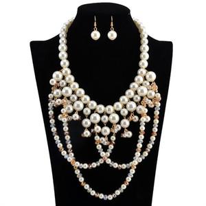 2 unids / set Sistemas de la joyería collar aretes Collar de Perlas de Imitación Blanco de Múltiples Capas Pendientes Largos Collar de Las Mujeres envío gratis marca