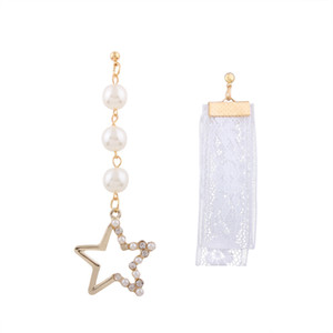 Perla de imitación cinco - Estrella puntiaguda Pendientes de marea corriente Pendientes asimétricos largos de la cinta de encaje Eardrop 2018 Accesorios de moda