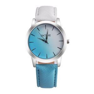 OKTIME Fashion Beautiful Watch 무지개색 가죽 캐주얼 여성 쿼츠 손목 시계 Unisex Elegant Clock Fresh 2 색 스트랩 Relogio Feminino