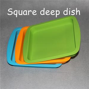 """2pcs силиконовый воск блюдо глубокие лотки квадратная форма 8 """" X8 """" 100% пищевой силиконовый контейнер концентрат буровые установки квадратный силиконовый лоток"""