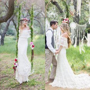 2019 New Romantic Off the Shoulder Böhmische Brautkleider Plus Size Sweep Zug Spitze Garden Beach Brautkleider