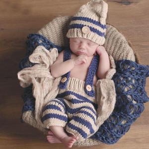 Erkek Giyim Setleri Yenidoğan Bebek Fotoğraf Sahne Tığ Kostüm Çizgili Yumuşak Kıyafetler Bere Pantolon toptan Fotoğraf Sahne