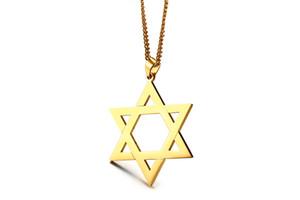 Модные Звезда Давида мужчины ожерелье из нержавеющей стали золото серебро цвет гексаграмма форма кулон ювелирные изделия Kolye
