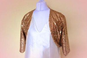 Custom Made Gold Sequins Veste De Mariée De Mariage 3/4 Veste De Demoiselle D'honneur Bolero De Mariage