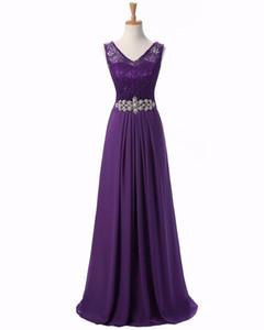 2016 New Arrival Shoulder Straps V-neck A-line Lace And Chiffon Bridesmaid Dresses Purple Long Plus Size