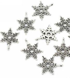 200 Stücke Tibetischen Silber Weihnachten Schneeflocke Charms Anhänger Für Schmuck Machen 23x20mm