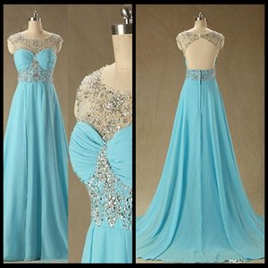 Moderne Bleu Longue En Mousseline De Soie Robes De Bal Sheer Crystal Prom Dress
