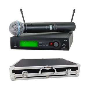 مع صندوق حالة الألومنيوم للمرحلة! UHF PRO WIRELESS DUAL MICROPHONE SYSTEM SLX24 / BETA58 58A MIC اللاسلكي ل KTV Karaoke DJ