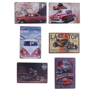 Wholesale- Vintage Metal Tin Sign Motorcycle and Classic Cars Plaque Poster Bar Pub Club Wall Tavern Garage Home Decor 6 Style 1pcs