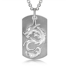 Hommes vintage chinois dragon pendentifs en acier inoxydable personnalité de la personnalité titane acier armée carte pendentif colliers bijoux accessoires