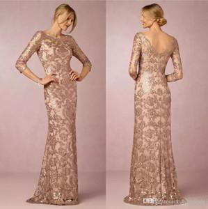 2018 Designer Elegant Rose Gold Sequins Appliqued Mere Des Robes De Mariée Pas Cher Robe De Fete De Soirée Formelle De Mariage Invité Robes