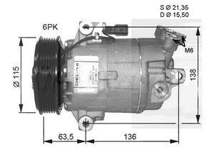 CVC car air compressor for Delphi CVC Nissan Dualis 2002-2010 12V PV6 110mm OEM# 92600-1DB3A 92600-JD200E