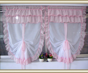 1 Pcs Hot Tulle Sheer Curtains for Bay Window Roman Curtain Blinds Embroidered Voile Sheer Flounced Balloon Curtains for Kitchen Living Room