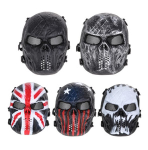 Skull Airsoft Party Mask Paintball Máscara Completa Juegos de ejército Mesh Eye Shield Máscara para Halloween Cosplay Party Decor
