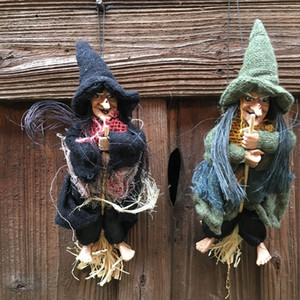 Halloween Props Magic Flying Brooms Female Witch Linen Pendant Party Supplies Bar Haunted House Decor Hot Sale 7cj F R