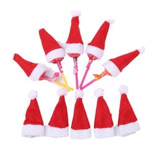 크리스마스 모자 빨간색 미니 산타 클로스 모자 크리스마스 크리스마스 휴일 롤리팝 상단 토퍼 커버 축제 크리스마스 장식