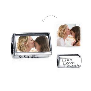 Üst Sınıf Pirinç Özelleştirilmiş boş aşk aşk gülmek fotoğraf boncuk rodyum kaplama Avrupa Charms Fit Pandora Chamilia Biagi Bilezik