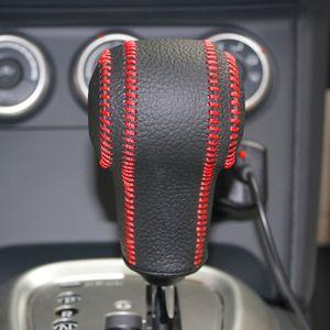 Caso de tampas de engrenagem para nissan qashqai x-trail rouge coleiras de mudança automática de couro genuíno costurado à mão diy estilo do carro