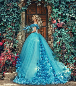 아름 다운 블루 웨딩 드레스 어깨에 2017의 3D 꽃 꽃 블루 무도회 볼 가운 Quinceanera 드레스 여성을위한
