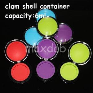 20 pcs acrílico recipiente de silicone 6 ml concentrado de cera compõem silicone recipientes caixa de grau alimentício ABS caixa de maquiagem dab dabber frascos de armazenamento ferramenta