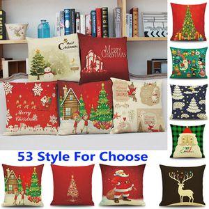 53 Tasarım Noel Yastık Kılıfı Noel Baba Ren Geyiği Baykuş Ağacı Elk Ayı Kedi Köpek Baskılı Minder Kapak Ev Araba Dekor Dekorasyon WX9-72