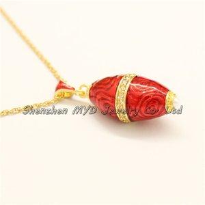 Kadınlar Faberge Bullet Takı Kolye Için Renkli Emaye Yumurta Inci Şekilli Yumurta Tarzı Şık Rus Kolye Tasarım Bayanlar Nmoaf