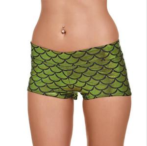Nuevo 2016 Hot Print Fish Scale Shorts deportivos de la manera de las mujeres de verano más el tamaño Digtal Printing Fitness pantalones cortos de cintura baja pantalones cortos